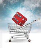 Customer lucky buy in shopping cart with sky — Stock Photo