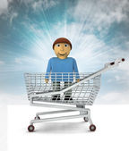 Man figure as shopping customer with sky — Stock Photo