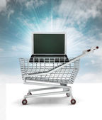 Bought new laptop in shopping cart with sky — Stock Photo