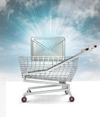 Good marketing message in shopping cart with sky — Stock Photo