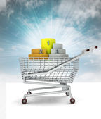 Trade business winner, podium in shopping cart with sky — Stock Photo