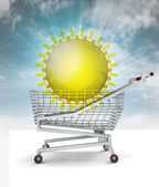 Bought holiday trip in shopping cart with sky — Stock Photo