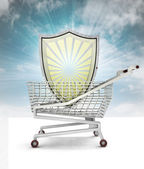 Shield customer protection in shopping cart with sky — Stock Photo