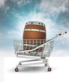 Bought beverage barrel in shopping cart with sky — Stock Photo