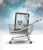 Bought wealth in shopping cart with sky — Stock Photo