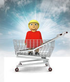 Woman figure as shopping customer with sky — Stock Photo