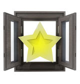 Isolated opened window with to rated star in middle — Stock Photo