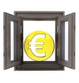 Isolated opened window to financial european business — Stock Photo