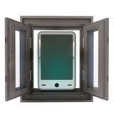 新的智能手机技术孤立已打开的窗口 — 图库照片