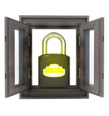 Isolated opened window with closed security padlock — Stock Photo
