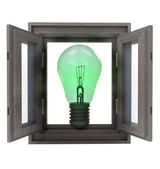 Isolated window opened way to new green ideas — Stock Photo