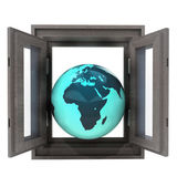 Isolated window opened to African countries travel — Stock Photo