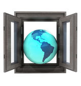 Isolated window opened to American countries travel — Stock Photo