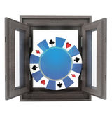 Isolated house window with poker chip in the middle — Stock Photo