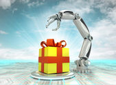 Cybernetic robotic hand celebration with gift surprise with cloudy sky — Stock Photo