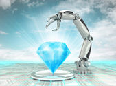Cybernetic robotic hand creation of artificial diamond with cloudy sky — Stock Photo