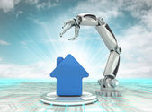 Cybernetic robotic hand automatic creation in building development with cloudy sky — Stock Photo