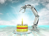 Cybernetic automatic robotic hand technology celebration with cloudy sky — Stock Photo