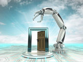 Open way to cybernetic robotic hand automatic technologies with cloudy sky — Stock Photo