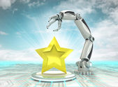 Top star rated cybernetic robotic hand technology with cloudy sky — Stock Photo