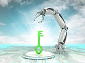 Key to cybernetic robotic hand automatic technologies with cloudy sky — Stock Photo