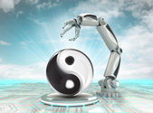 Cybernetic robotic hand technological harmony with cloudy sky — Stock Photo
