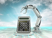 Cybernetic robotic hand technological progress calculation with cloudy sky — Stock Photo