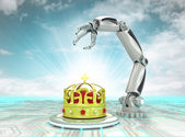 Cybernetic royal robotic hand automatic technologies with cloudy sky — Stock Photo