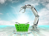 Robotic hand automatic shopping in trade business with cloudy sky — Stock Photo