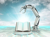 Cybernetic robotic hand technological knowledge description with cloudy sky — Stock Photo