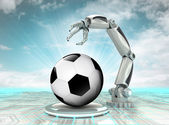 Robotic hand creation of cyber sport ball with cloudy sky — Stock Photo