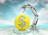 Dollar coin investment to robotic hand use in modern industries with cloudy sky — Stock Photo