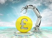 Pound coin investment to robotic hand use in modern industries with cloudy sky — Stock Photo