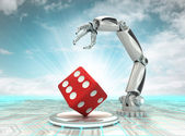 Robotic hand automatic creation in lucky way with cloudy sky — Stock Photo