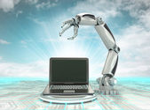 Cybernetic robotic hand creation of modern personal computer with cloudy sky — Stock Photo