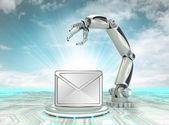 Creación de mano robot cibernético en la era de la información moderna con cielo nublado — Foto de Stock