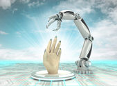 Cybernetic robotic hand creation of arteficial intelligence with cloudy sky — Stock Photo