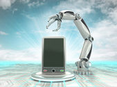 Industrial cybernetic robotic hand creation of futuristic smart phone with cloudy sky — Stock Photo