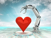 Industrial cybernetic robotic hand creation of artificial love with cloudy sky — Stock Photo