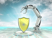 Industrial cybernetic robotic hand creation in secure mode with cloudy sky — Stock Photo