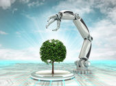 Robotic hand creation of new kind of tree with cloudy sky — Stock Photo