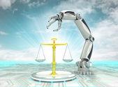 Robotic hand rechtvaardig inventios in de industrie met bewolkte hemel — Stockfoto
