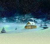 Mountain landscape with cottage at winter snowfall — Stock Photo