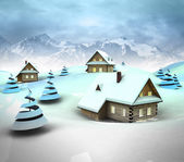 Mountain village enviroment with high mountain landscape — Stock Photo