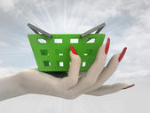 Green shopping basket in women hand render — Stock Photo