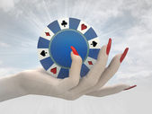 Poker chip hold in women hand render — Stock Photo