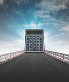 Distance calculator on motorway with sky flare — Stock Photo
