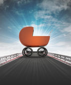 Babe carriage on motorway leading to maternity with sky flare — Stock Photo