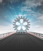 Ozubenou na dálnici trať vedoucí k továrně se obloze světlici — Stock fotografie