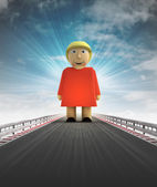 Standing woman on motorway track leading to introduction with sky flare — Stock Photo